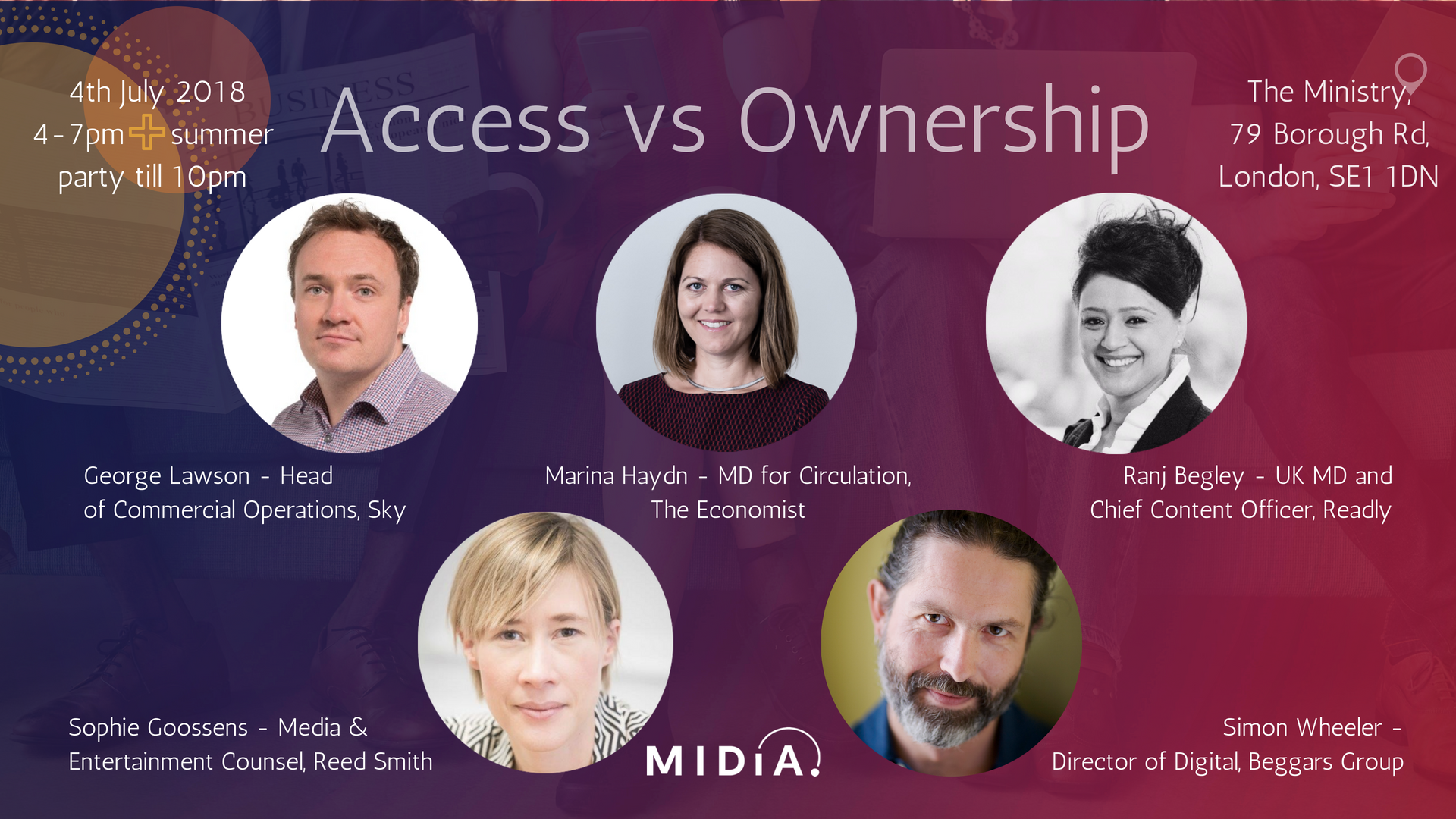 Cover image for Beggars Group, Sky, The Economist, Plus more Speakers at the Access vs Ownership Industry Event