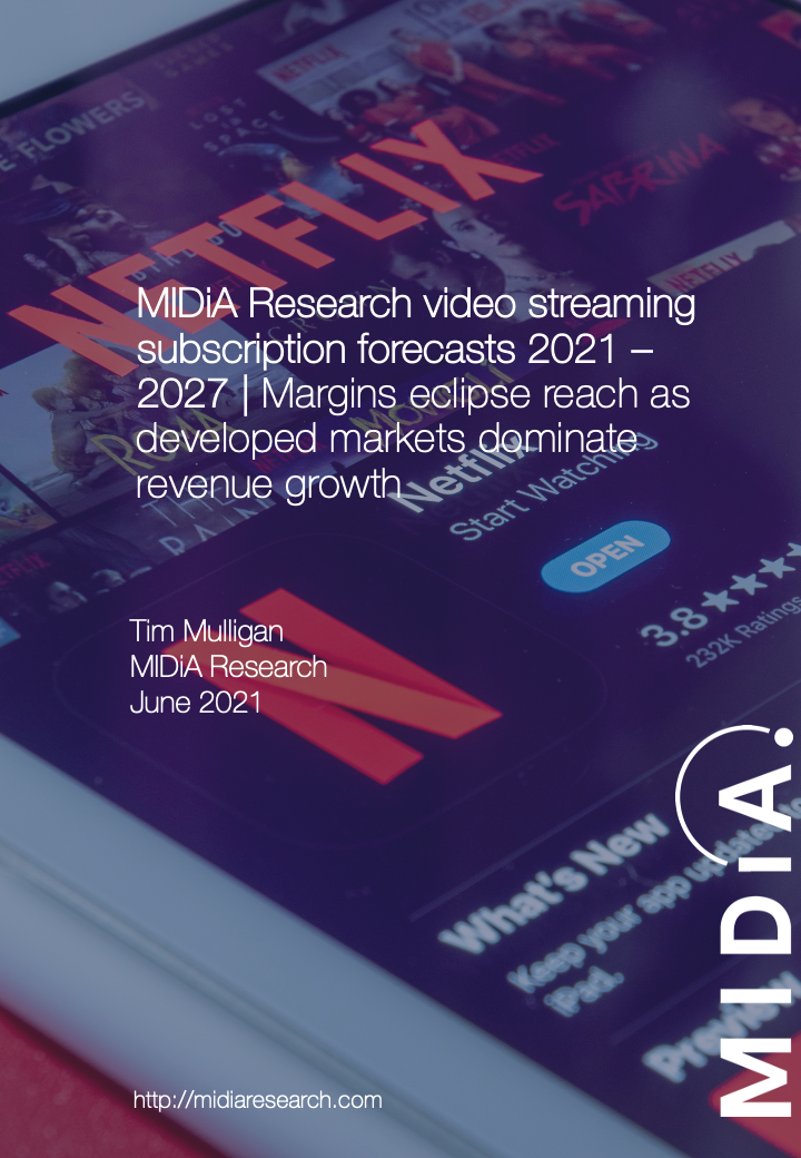 Cover image for MIDiA Research video streaming subscription forecasts 2021-2027